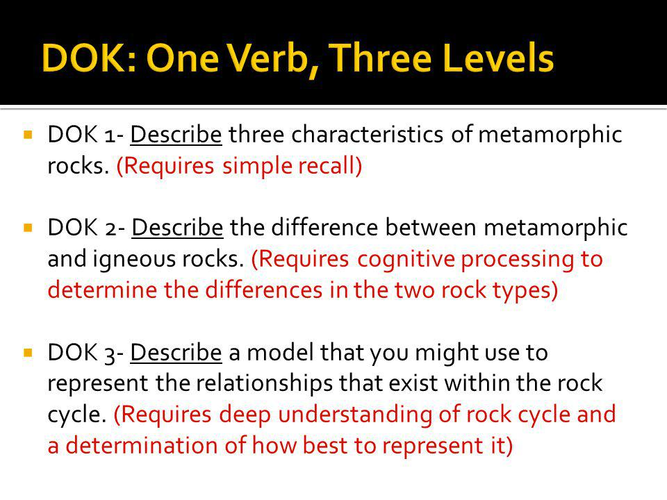 DOK: One Verb, Three Levels