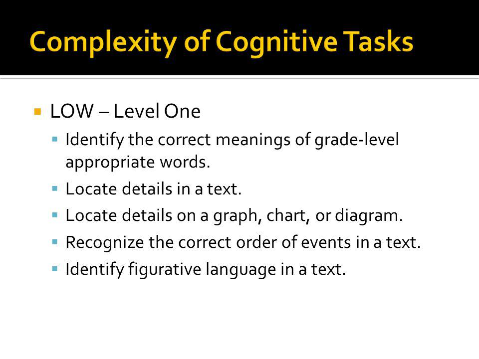 Complexity of Cognitive Tasks