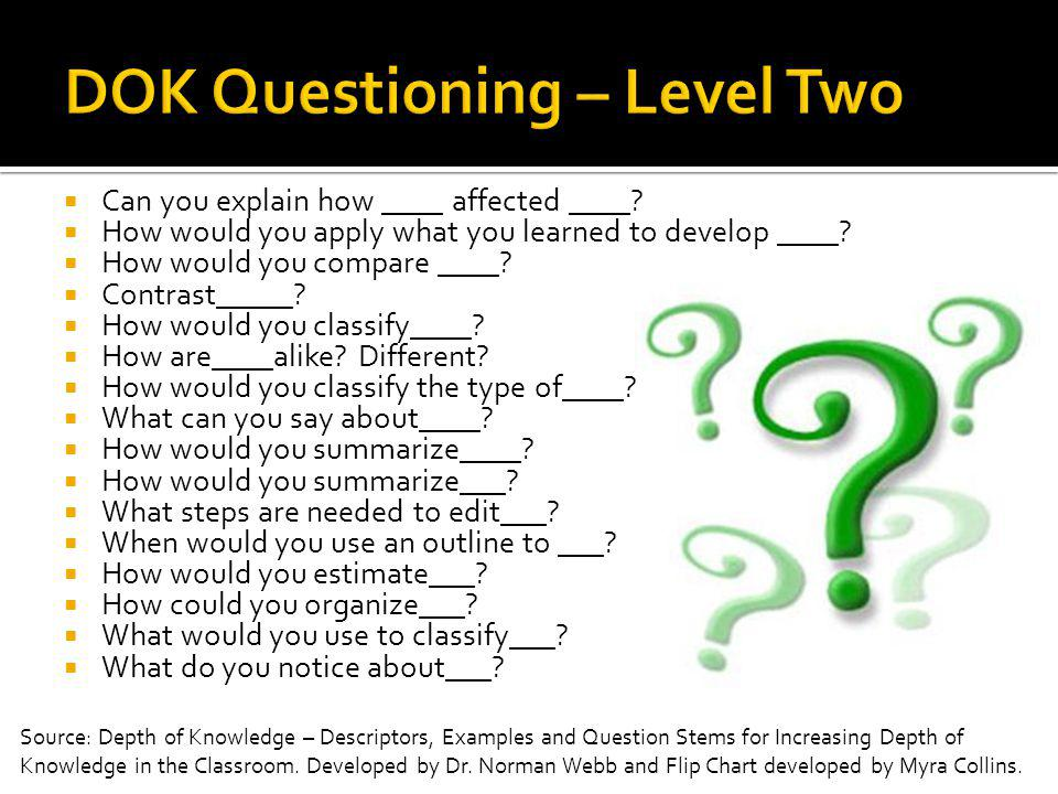 DOK Questioning – Level Two