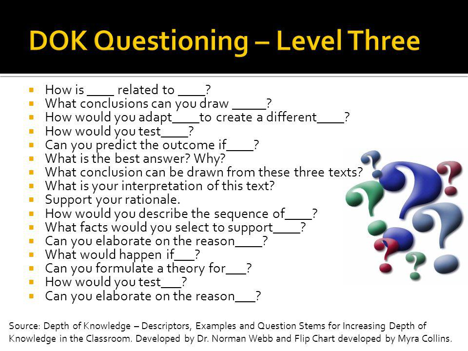 DOK Questioning – Level Three