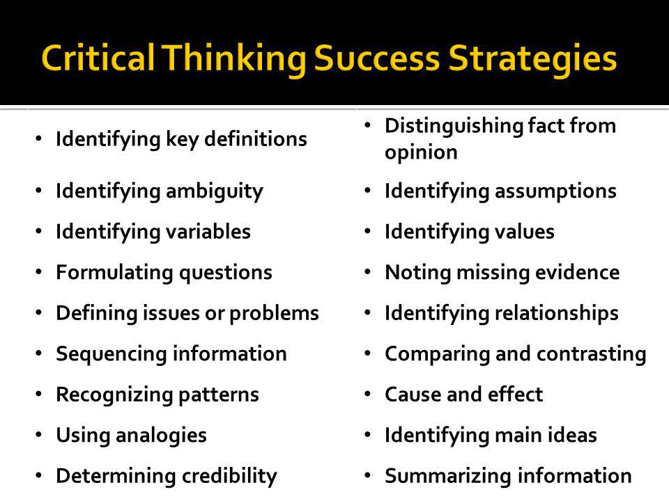Critical Thinking Success Strategies