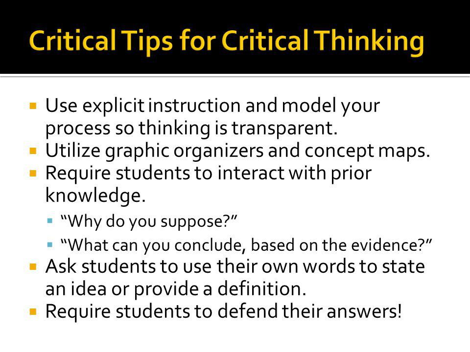 Critical Tips for Critical Thinking