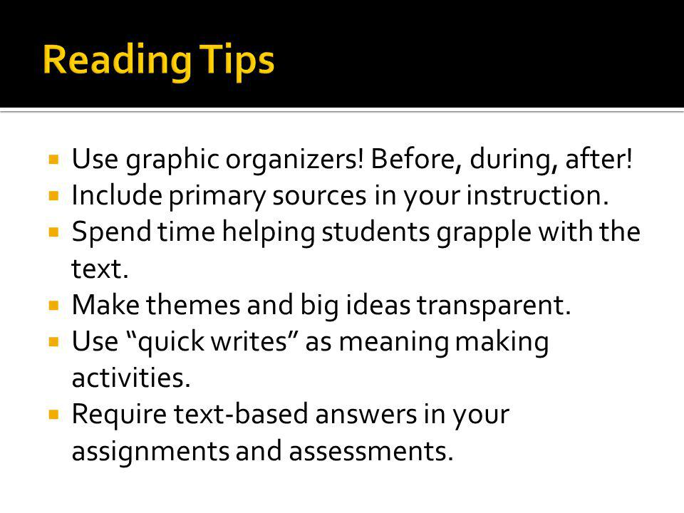 Reading Tips Use graphic organizers! Before, during, after!