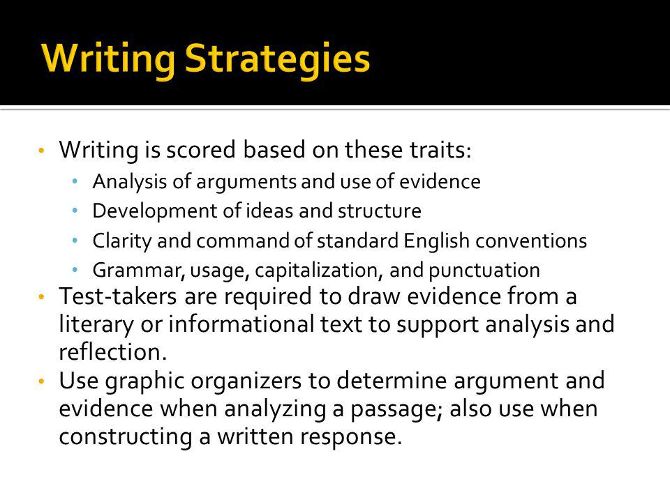 Writing Strategies Writing is scored based on these traits: