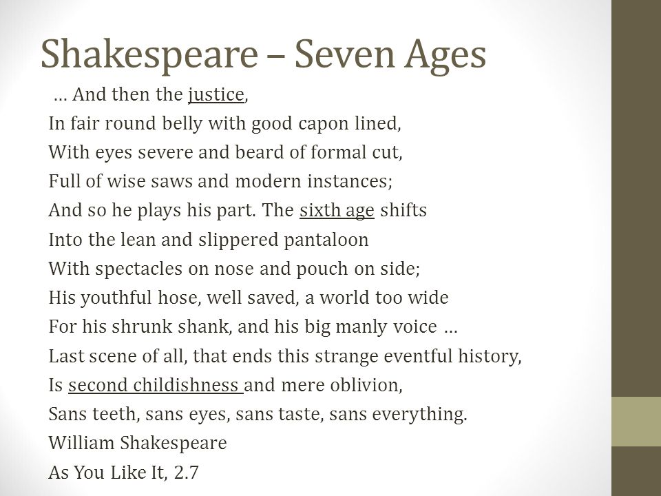 Shakespeare – Seven Ages