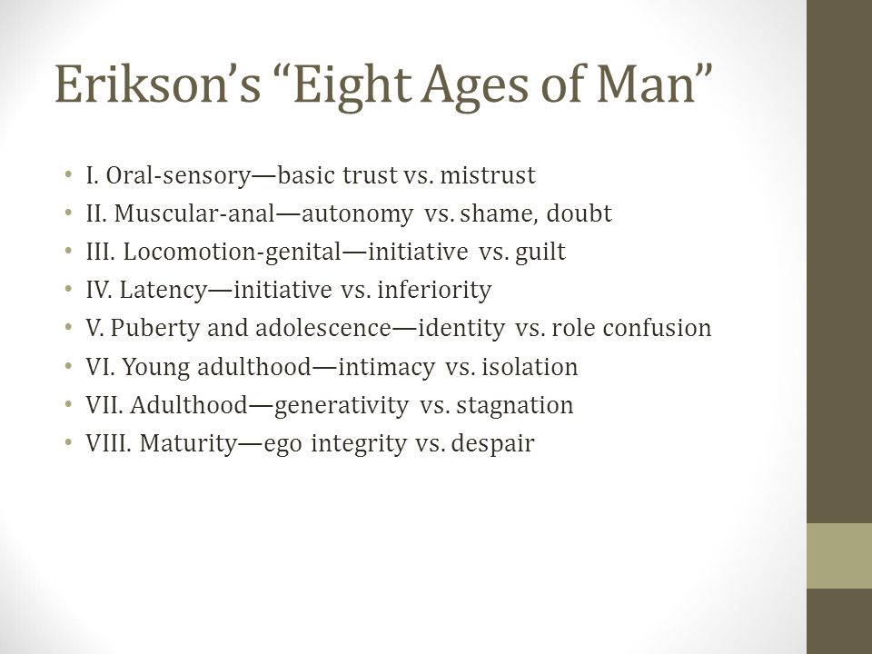 Erikson's Eight Ages of Man