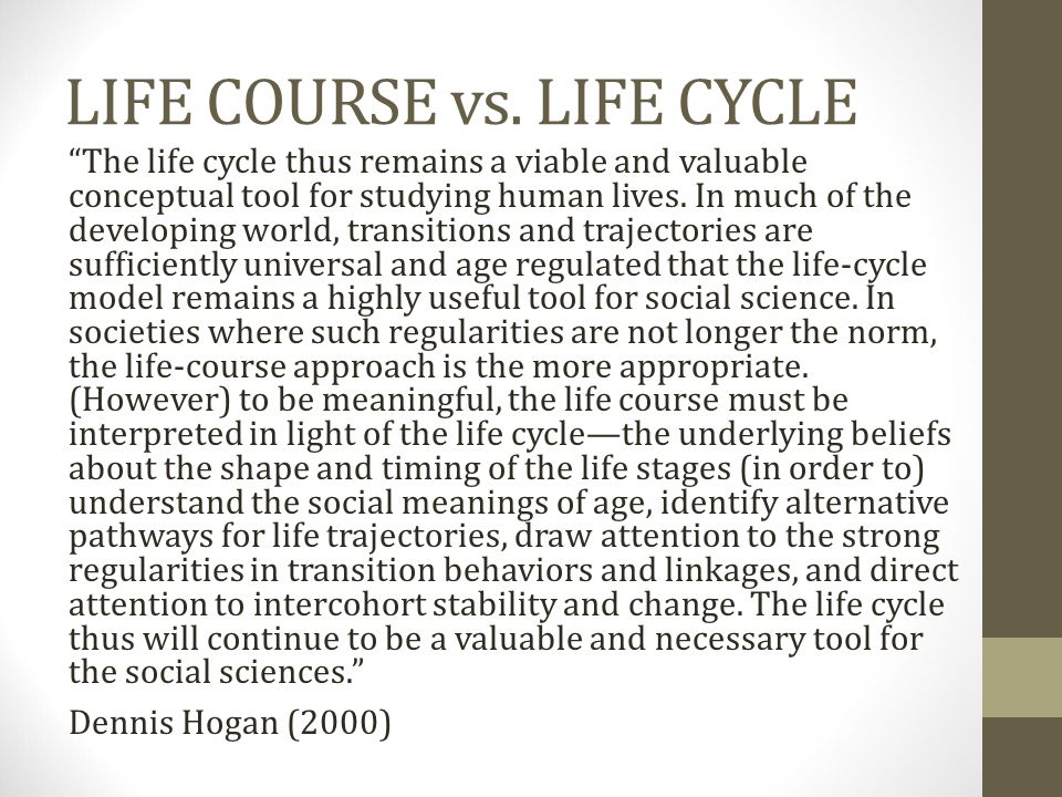 LIFE COURSE vs. LIFE CYCLE