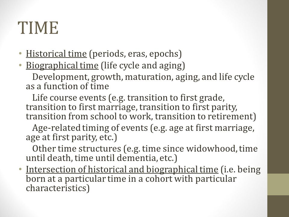 TIME Historical time (periods, eras, epochs)