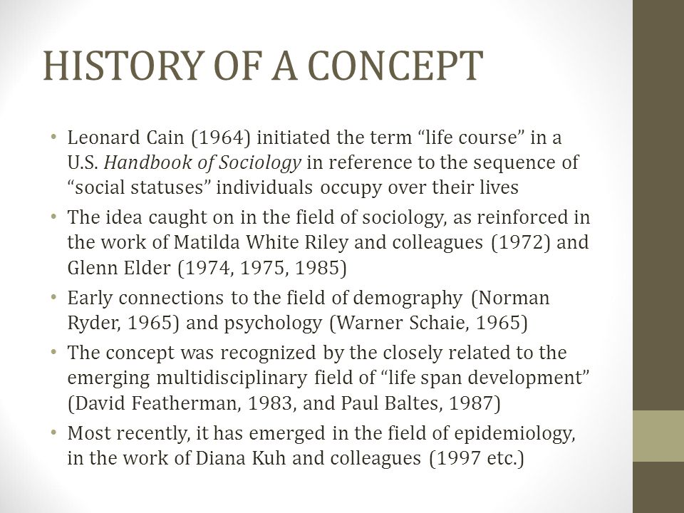 HISTORY OF A CONCEPT