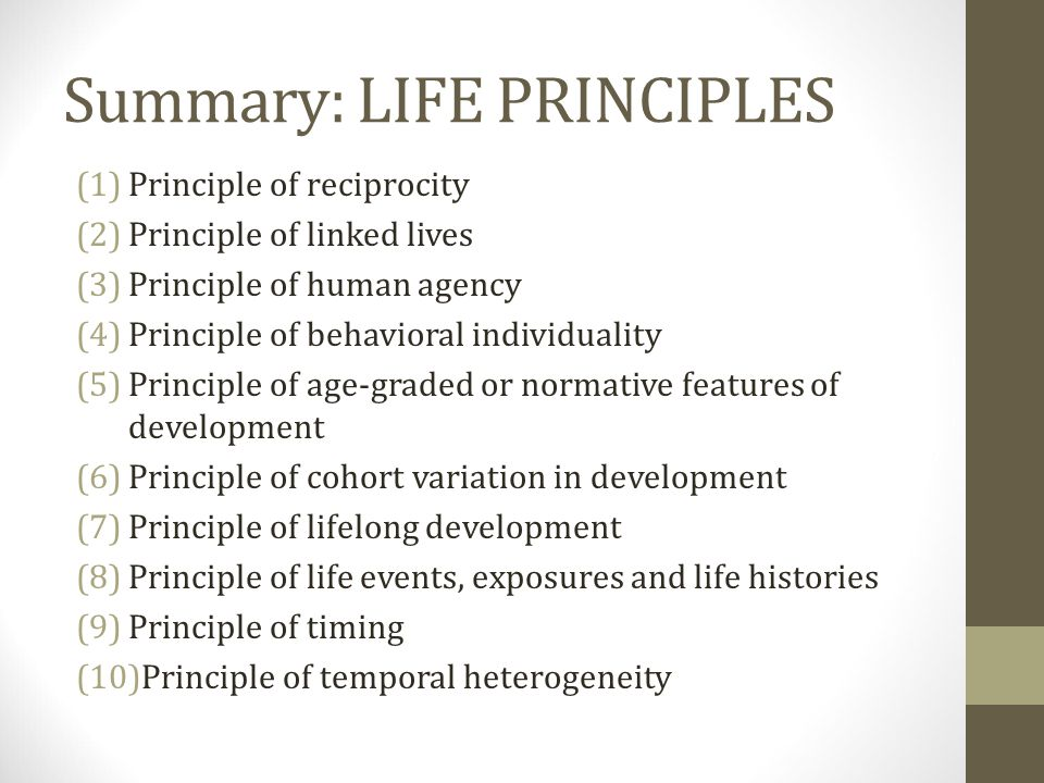 Summary: LIFE PRINCIPLES