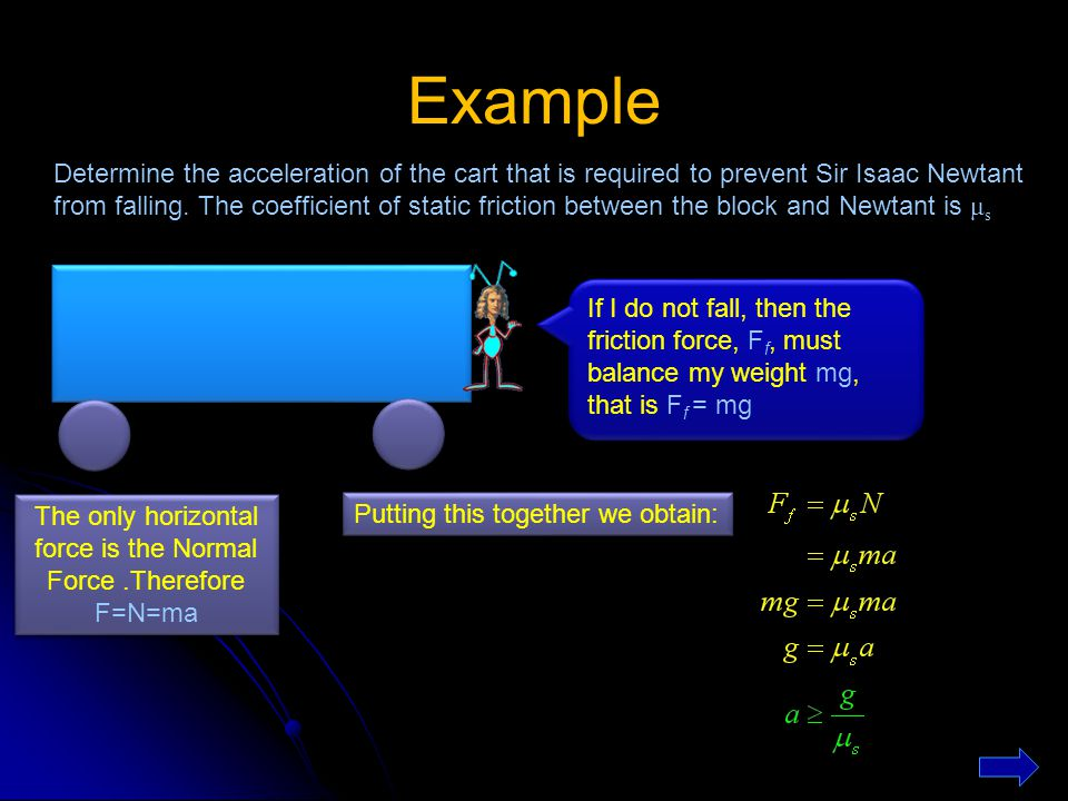 The only horizontal force is the Normal Force .Therefore F=N=ma
