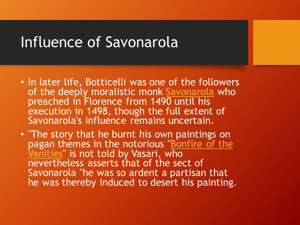 Influence of Savonarola
