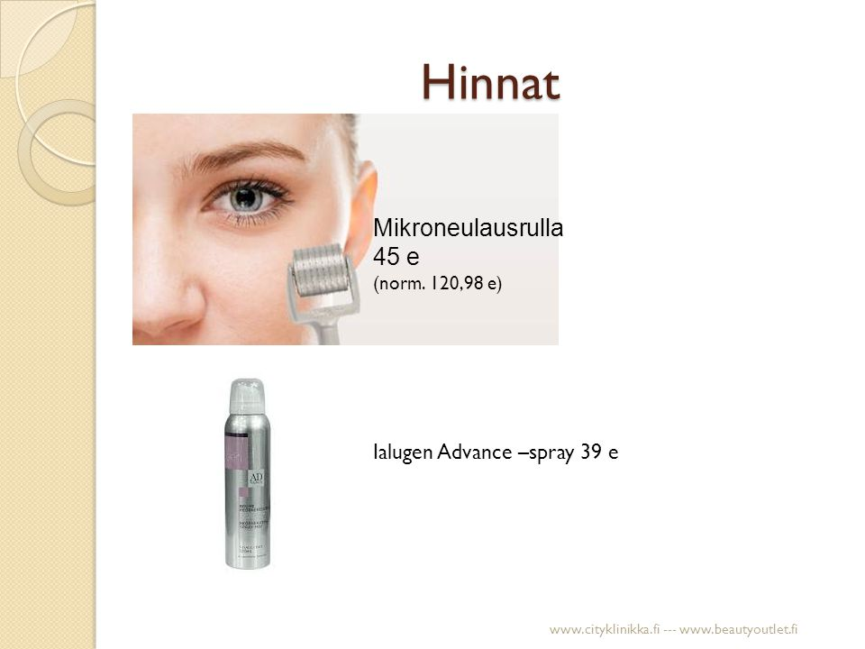 Hinnat Mikroneulausrulla 45 e Ialugen Advance –spray 39 e