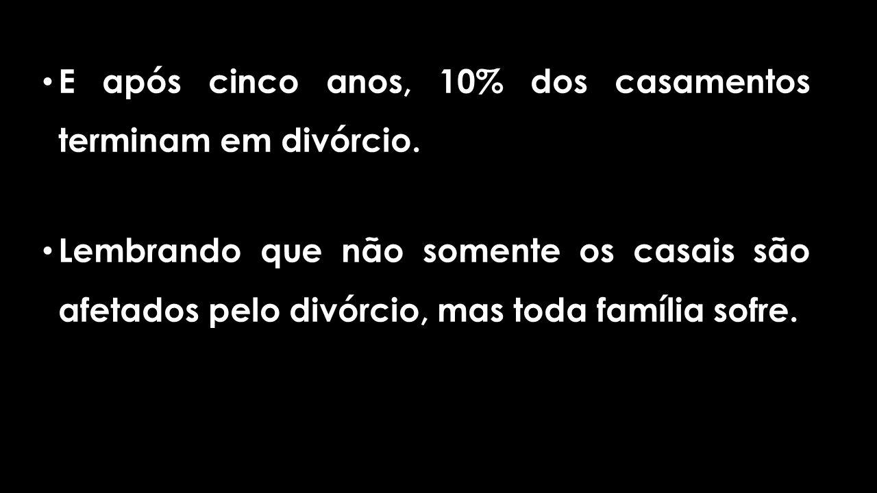 E após cinco anos, 10% dos casamentos terminam em divórcio.