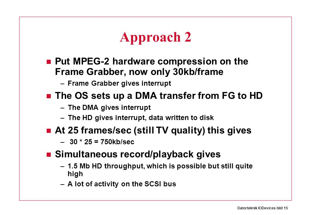 Approach 2 Put MPEG-2 hardware compression on the Frame Grabber, now only 30kb/frame. Frame Grabber gives interrupt.
