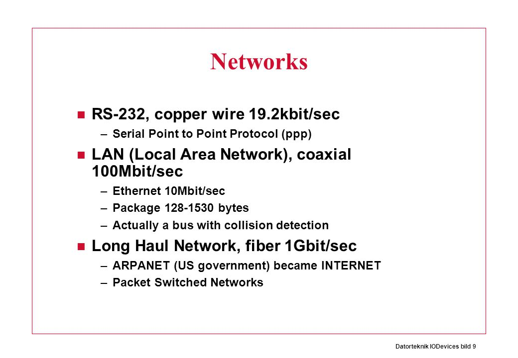 Networks RS-232, copper wire 19.2kbit/sec