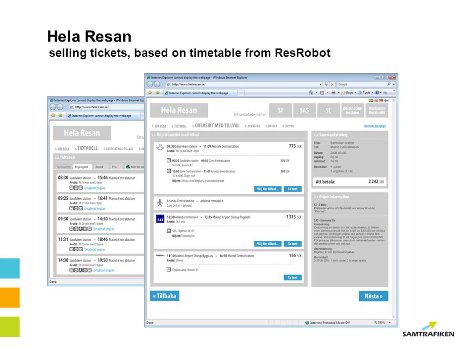 Hela Resan selling tickets, based on timetable from ResRobot