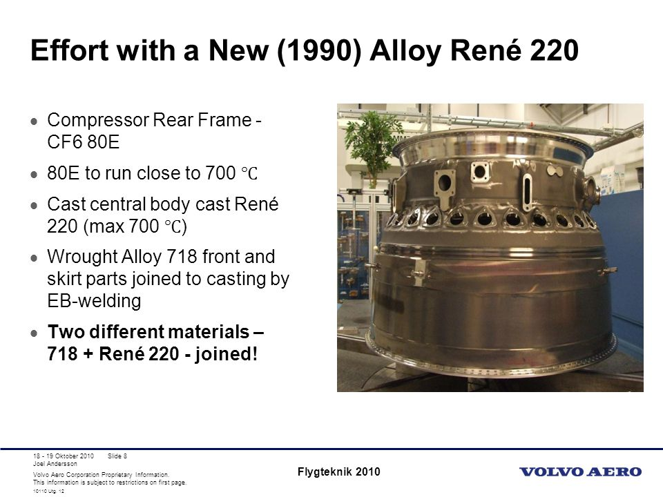 Effort with a New (1990) Alloy René 220