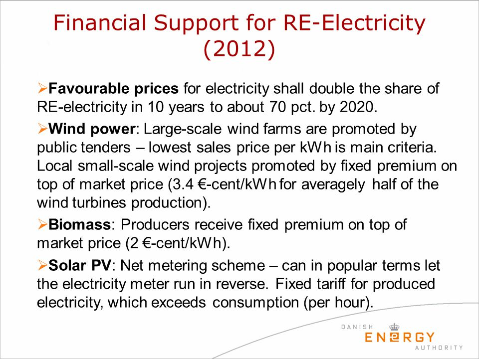 Financial Support for RE-Electricity (2012)