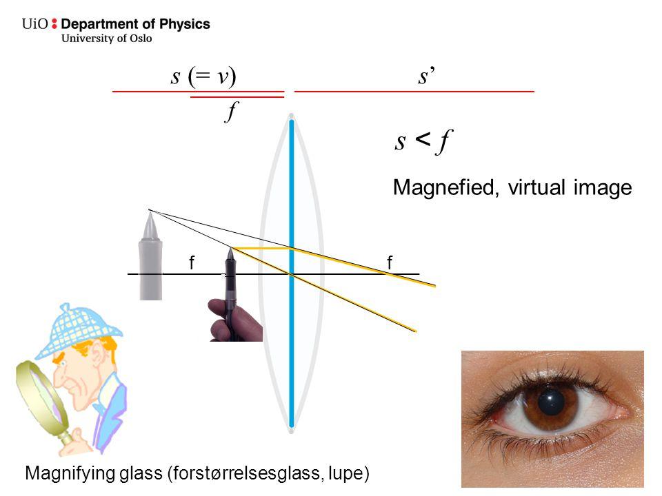 s < f s (= v) s' f Magnefied, virtual image f f