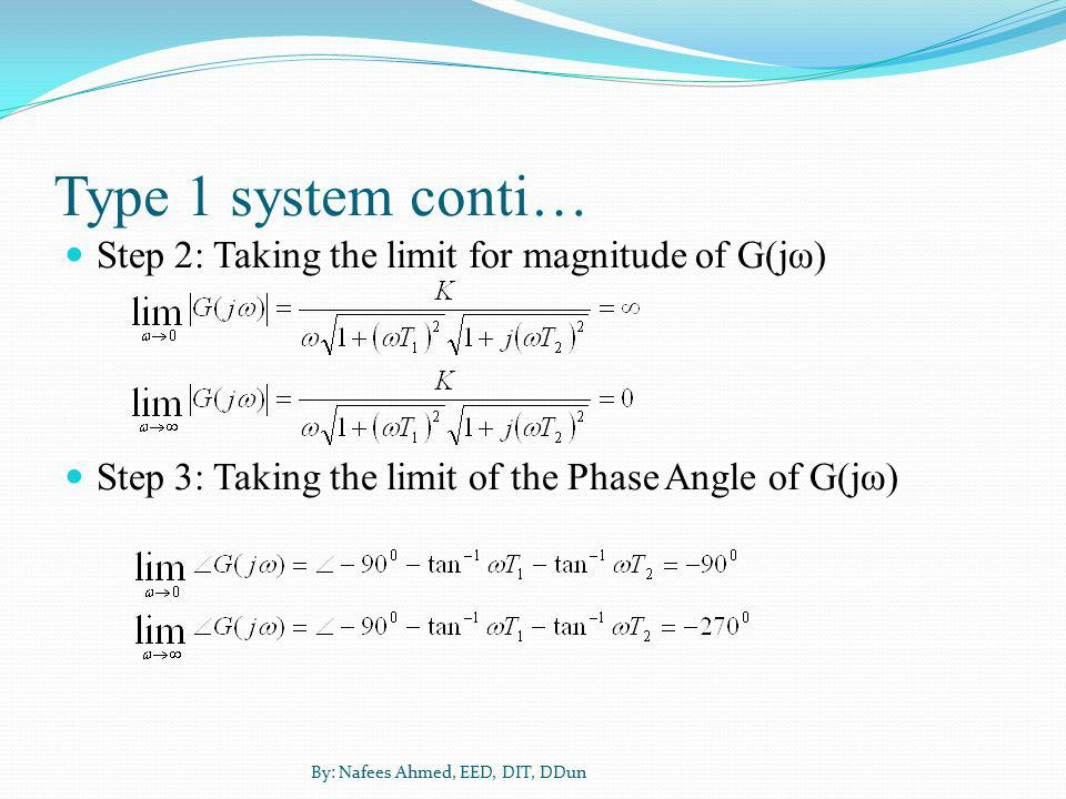 Type 1 system conti… Step 2: Taking the limit for magnitude of G(jω)