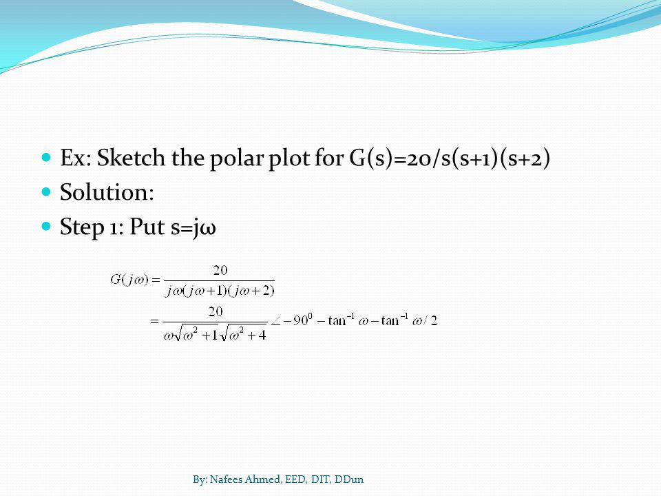 Ex: Sketch the polar plot for G(s)=20/s(s+1)(s+2) Solution: