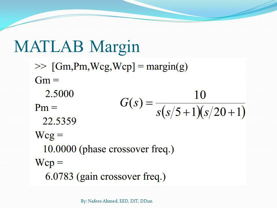MATLAB Margin By: Nafees Ahmed, EED, DIT, DDun