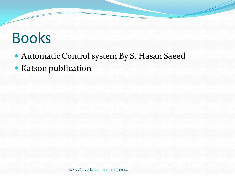 Books Automatic Control system By S. Hasan Saeed Katson publication