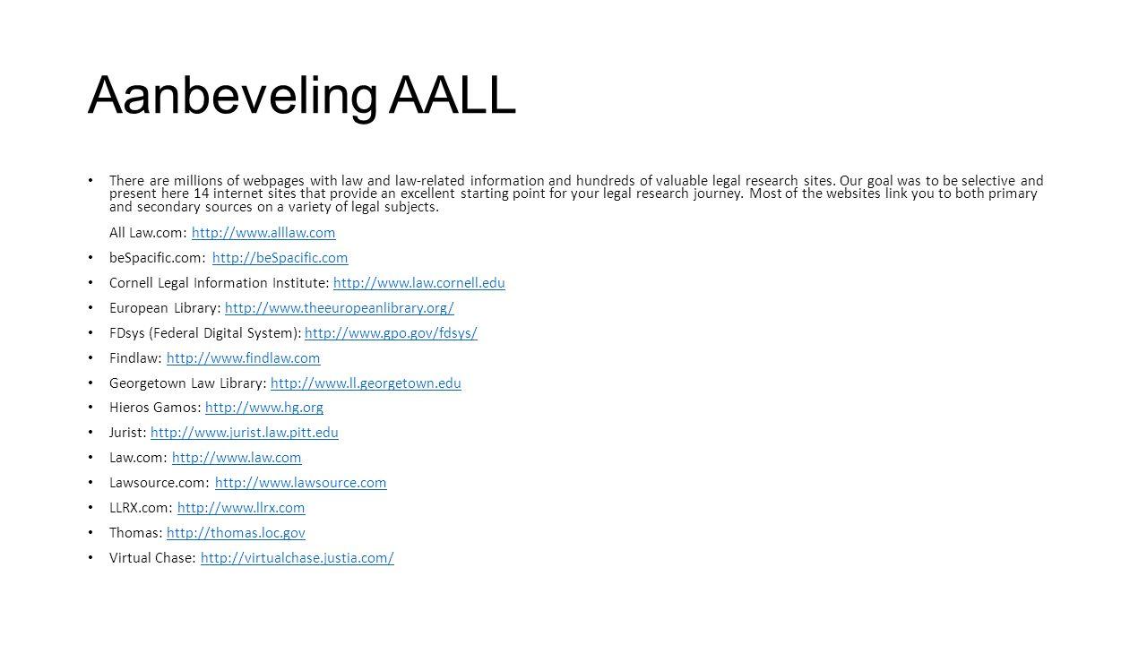 Aanbeveling AALL