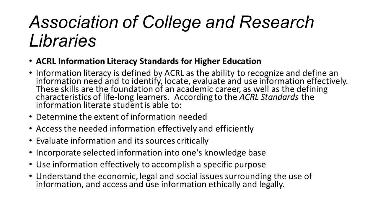 Association of College and Research Libraries
