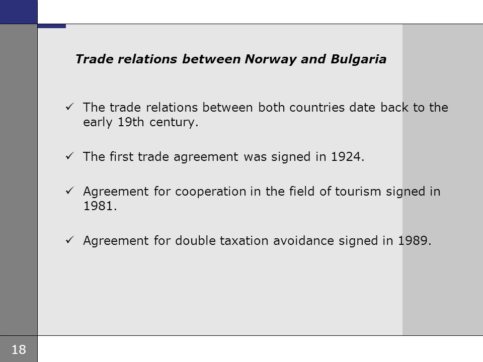 Trade relations between Norway and Bulgaria