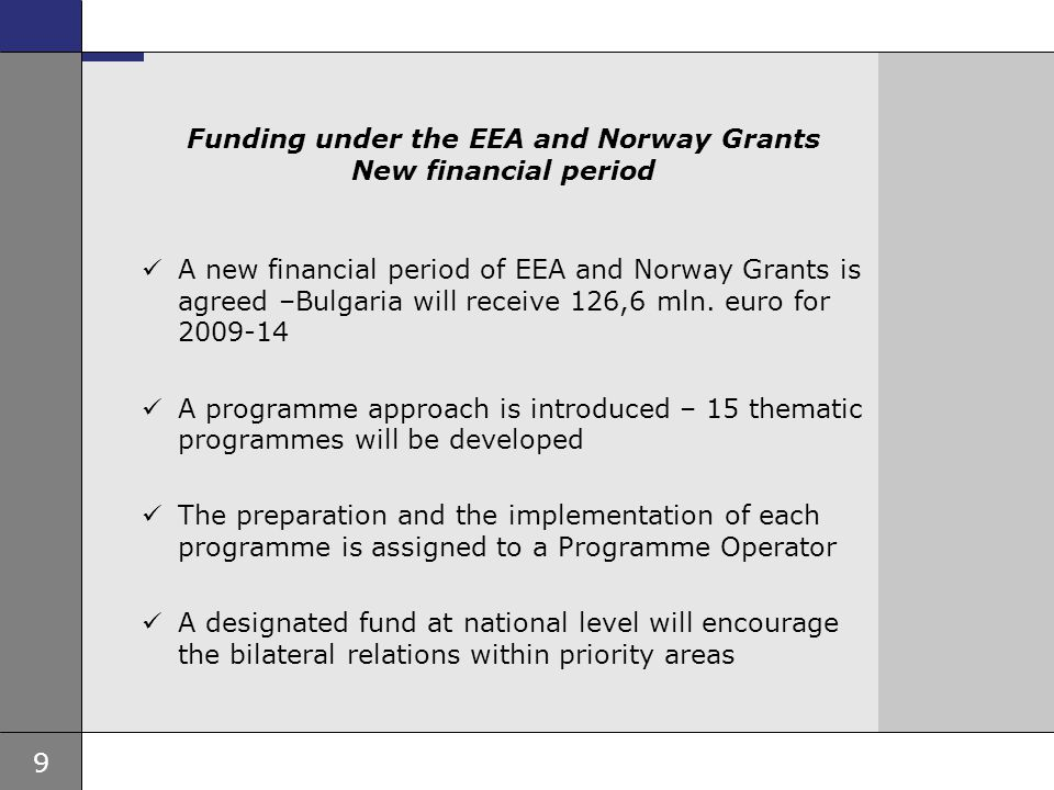 Funding under the EEA and Norway Grants New financial period