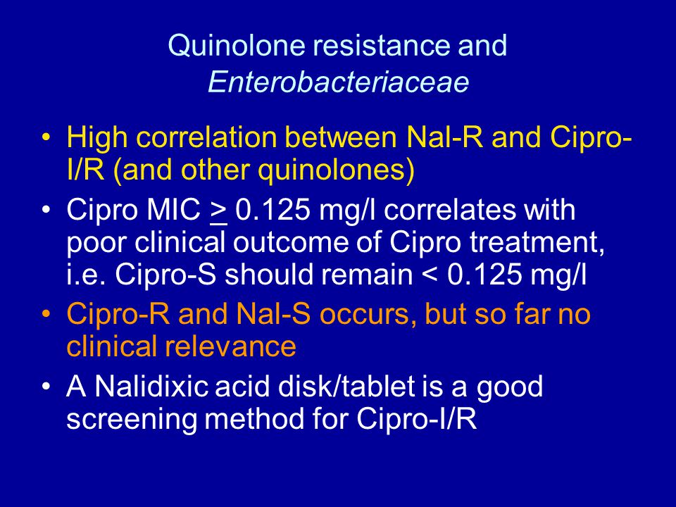 Quinolone resistance and Enterobacteriaceae