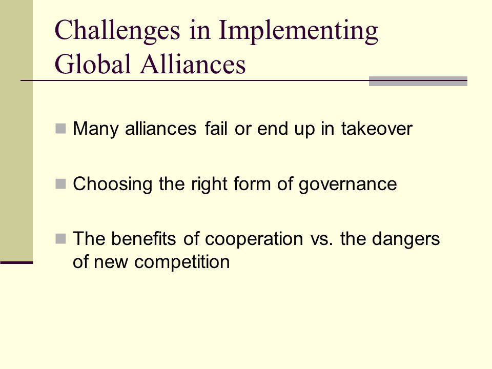Challenges in Implementing Global Alliances