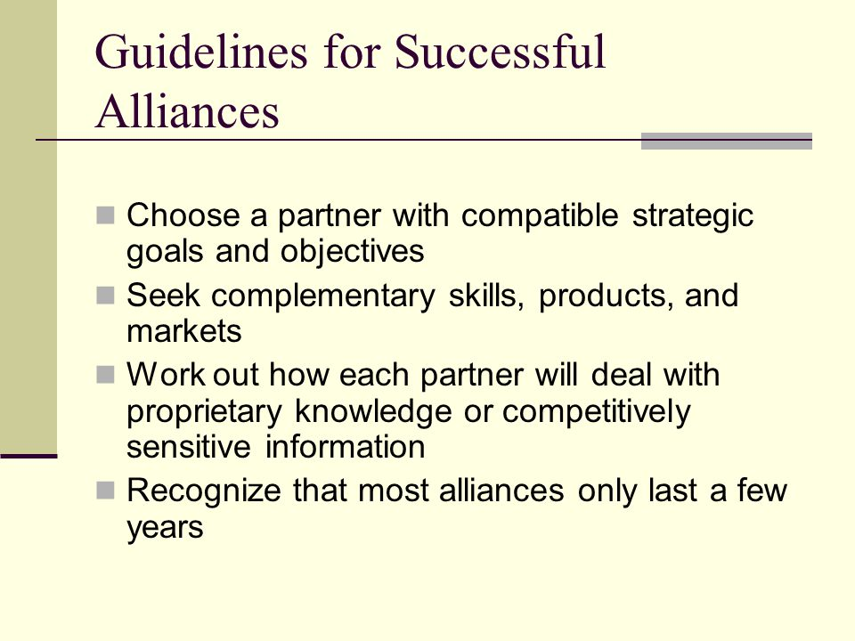 Guidelines for Successful Alliances