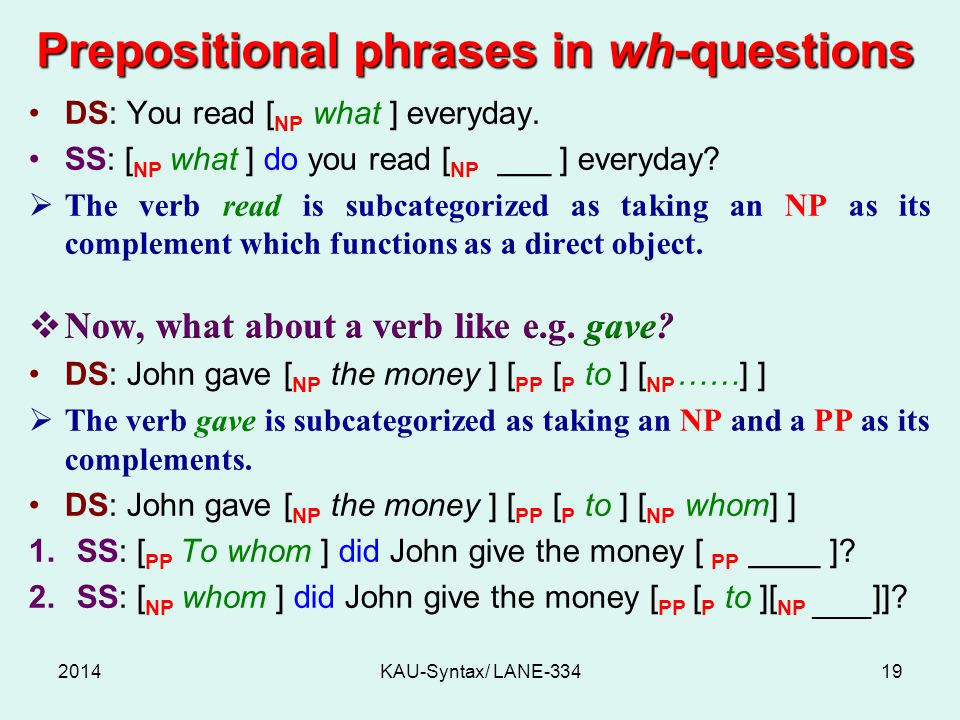 Prepositional phrases in wh-questions