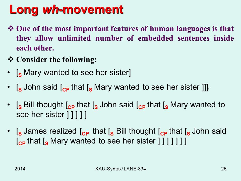 Long wh-movement One of the most important features of human languages is that they allow unlimited number of embedded sentences inside each other.