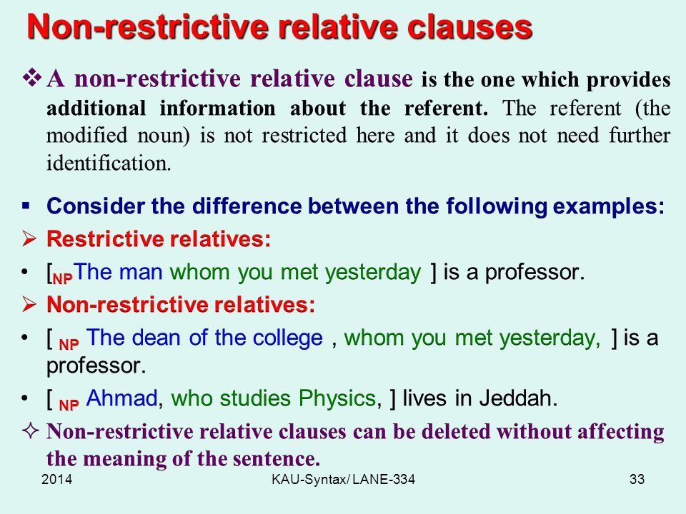 Non-restrictive relative clauses