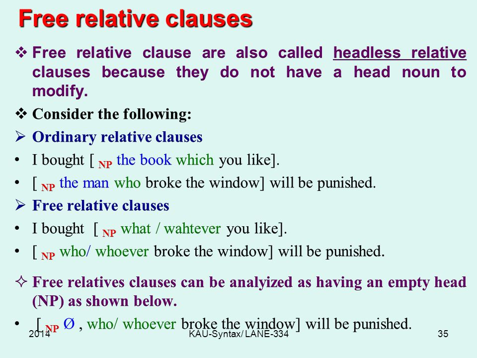 Free relative clauses Free relative clause are also called headless relative clauses because they do not have a head noun to modify.