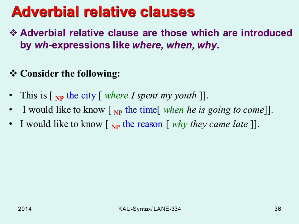 Adverbial relative clauses
