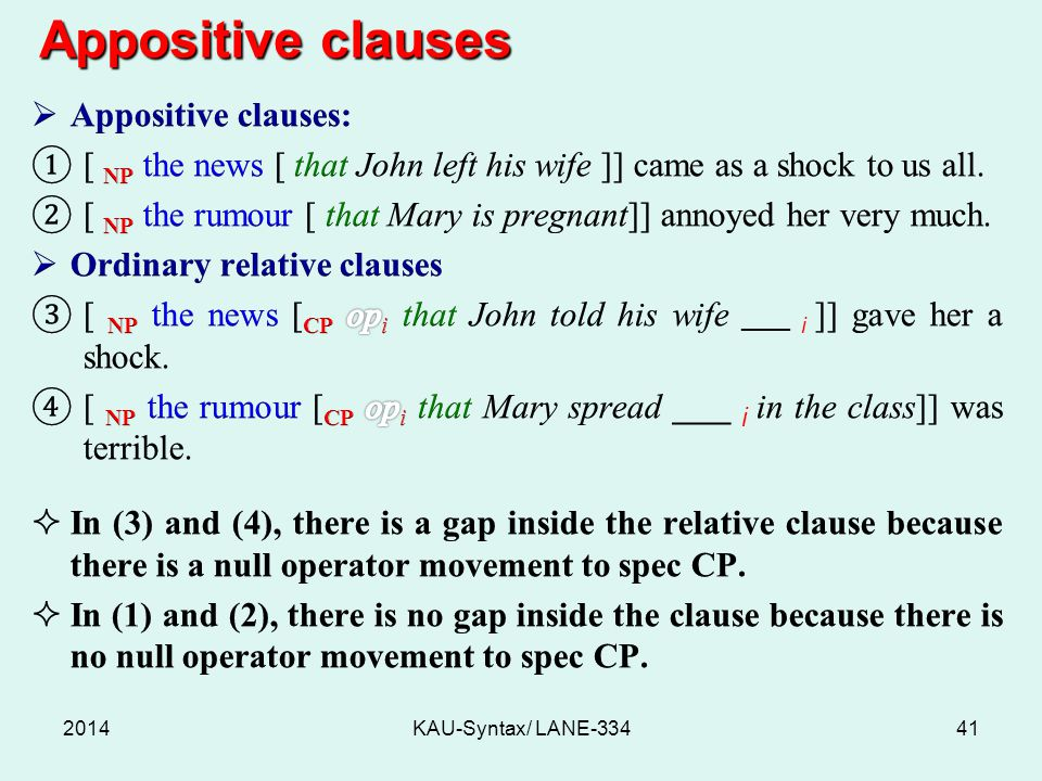 Appositive clauses Appositive clauses: