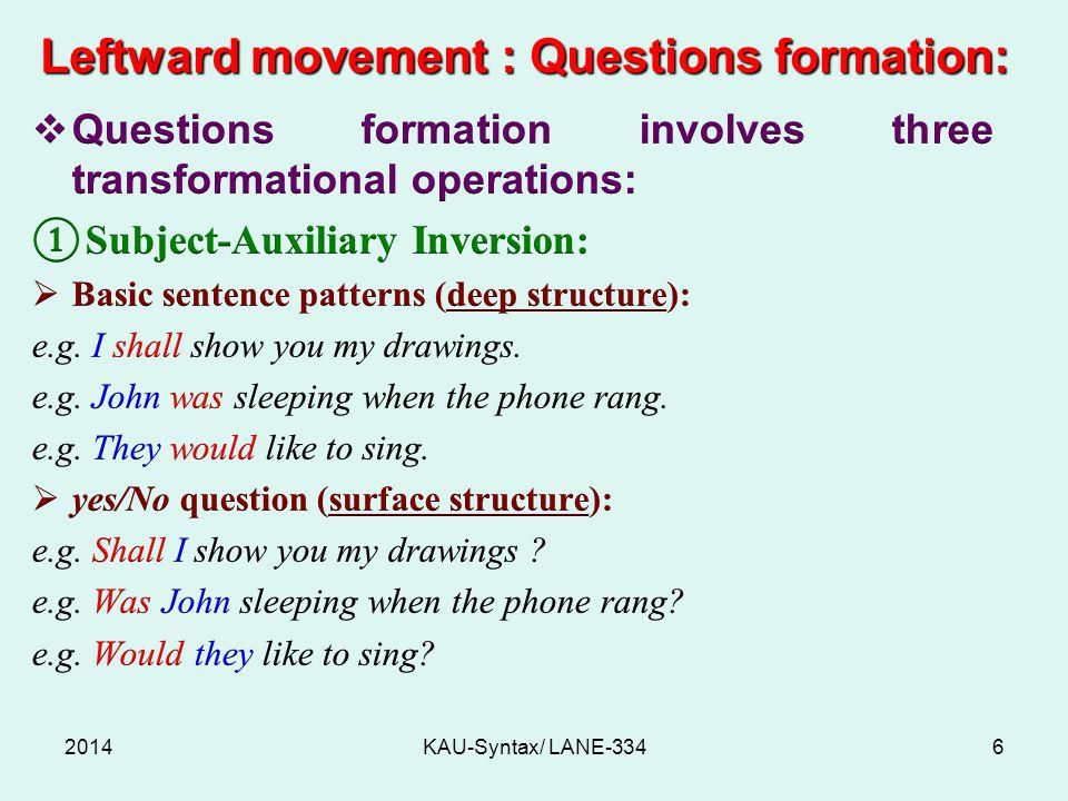 Leftward movement : Questions formation: