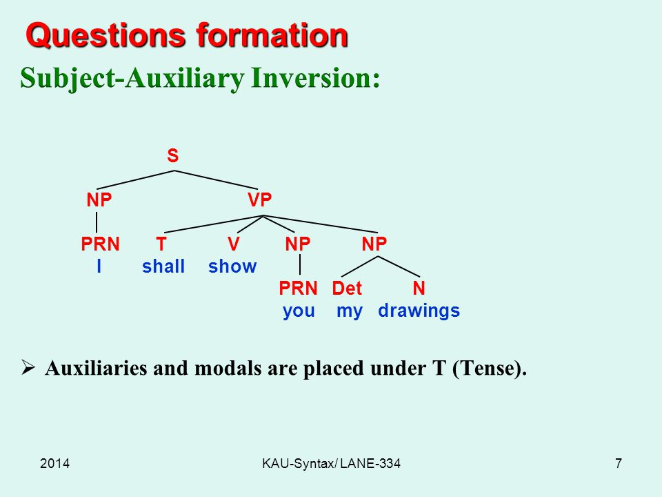 Questions formation Subject-Auxiliary Inversion: