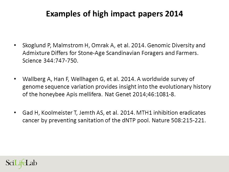 Examples of high impact papers 2014