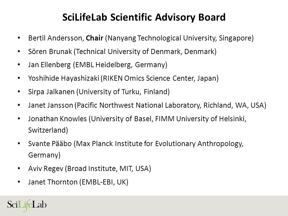SciLifeLab Scientific Advisory Board