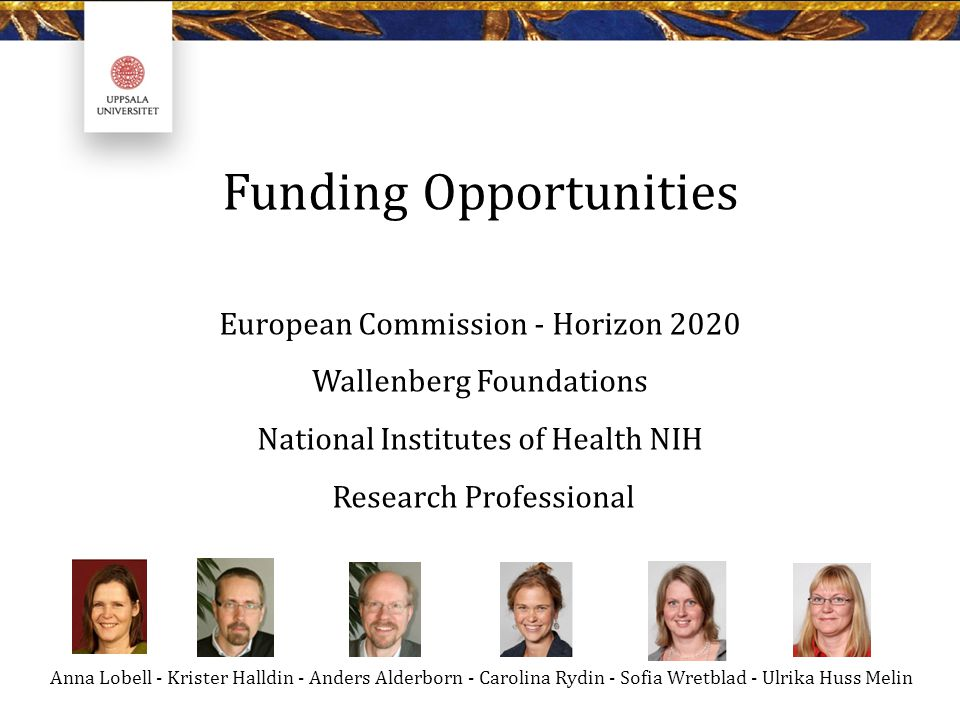 Funding Opportunities European Commission - Horizon 2020 Wallenberg Foundations National Institutes of Health NIH Research Professional