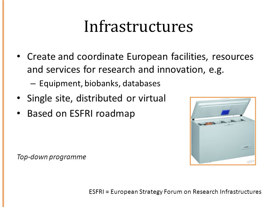 Infrastructures Create and coordinate European facilities, resources and services for research and innovation, e.g.