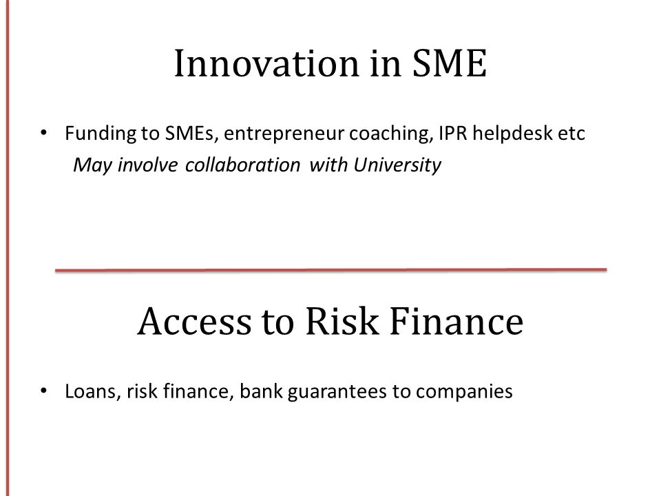 Innovation in SME Access to Risk Finance