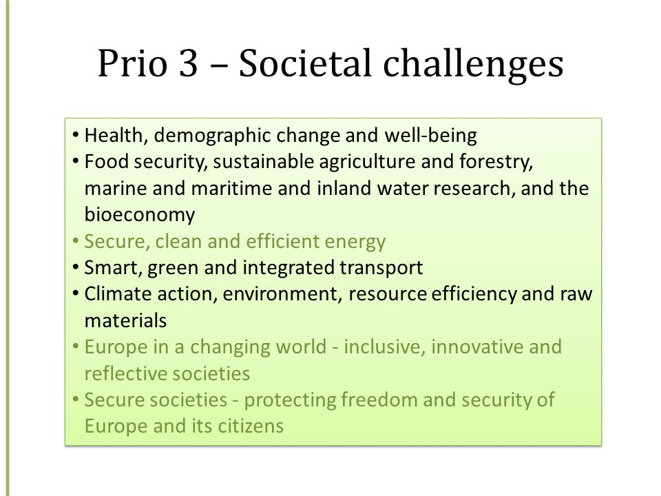 Prio 3 – Societal challenges