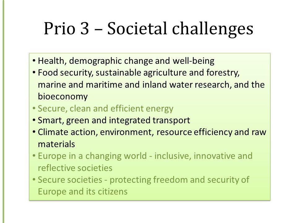 Prio 3 – Societal challenges
